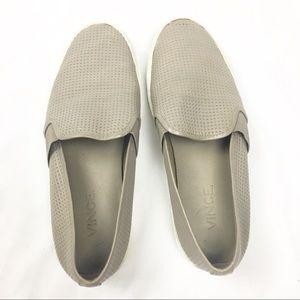 VINCE. Grey Blair Leather Slip on Sneakers 6.5